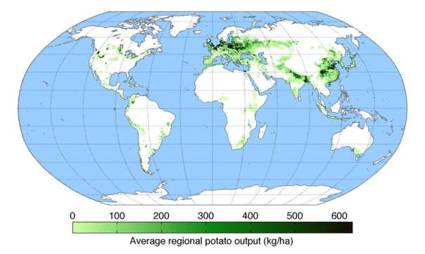 English: Map of potato production (average percentage of land used for its production times average yield in each grid cell) across the world compiled by the University of Minnesota Institute on the Environment with data from: Monfreda, C., N. Ramankutty, and J.A. Foley. 2008. Farming the planet: 2. Geographic distribution of crop areas, yields, physiological types, and net primary production in the year 2000. Global Biogeochemical Cycles 22: GB1022 / Image: http://en.wikipedia.org/